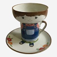 Mid-Century Bobco Original Boy 3 Piece Cup, Saucer & Plate Set USA Pottery