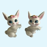 Mid-Century Easter Bunny Rabbit Ceramic Figurines RB Japan