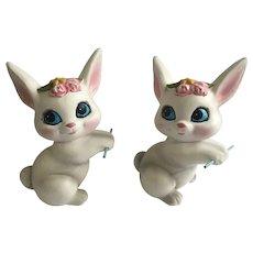 Mid-Century Easter Bunny Rabbit Ceramic Figurines RB Japan