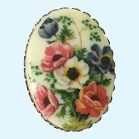 Anemone Flowers Transfer Gold-tone Brooch Pin