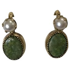Jadeite and Pearl Earrings HG 1/20 12K Gold Filled Screw Backs