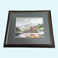 Laura Leslie, Eilean Donan Castle Scotland Watercolor Painting Signed By Artist