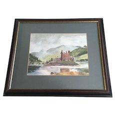 Laura Leslie, Eilean Donan Castle Scotland Watercolor Painting Signed By Artist