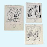 John Stees (1910-1982) Three Original Cartoon Drawings Baltimore Sun Newspaper illustrator