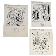 John Stees (1910-1982) Three Original Cartoon Drawings by Baltimore Sun Newspaper illustrator