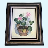 Lauraine Rice, Pink Geranium Flowers Still life Oil Painting Signed By Artist