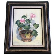 Lauraine Rice, Pink Geranium Flowers Still life Oil Painting