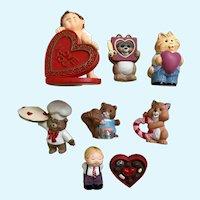 Hallmark Cards Valentines Plastic Figurines Set 8