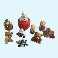 Hallmark Cards Valentines Plastic Figurines Set 9