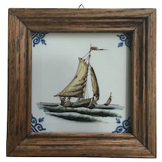 Royal Tichelaar Makkum Dutch Tile Hand Painted Polychrome Ships