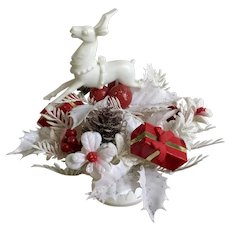 Retro Reindeer Red & White Glitter Christmas Plastic Bouquet Hong Kong