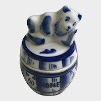Honey Pot Bear Barrel Blue and White Gzhel Porcelain Russia