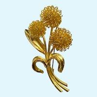 Vintage Gold Tone Mum Flower Pin Brooch