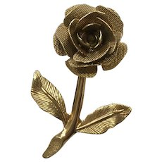 Gold Tone Rose Flower Shaped Pin Brooch