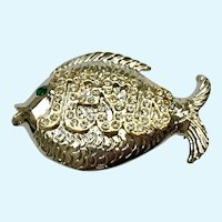 Jesus Fish Rhinestone Encrusted Brooch Pin