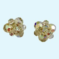 Sparkling Earrings Aurora Borealis Beads Clip-On