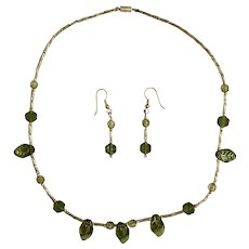 Matching Set Earrings and Necklace Green Leaf Gold-Tone Beads