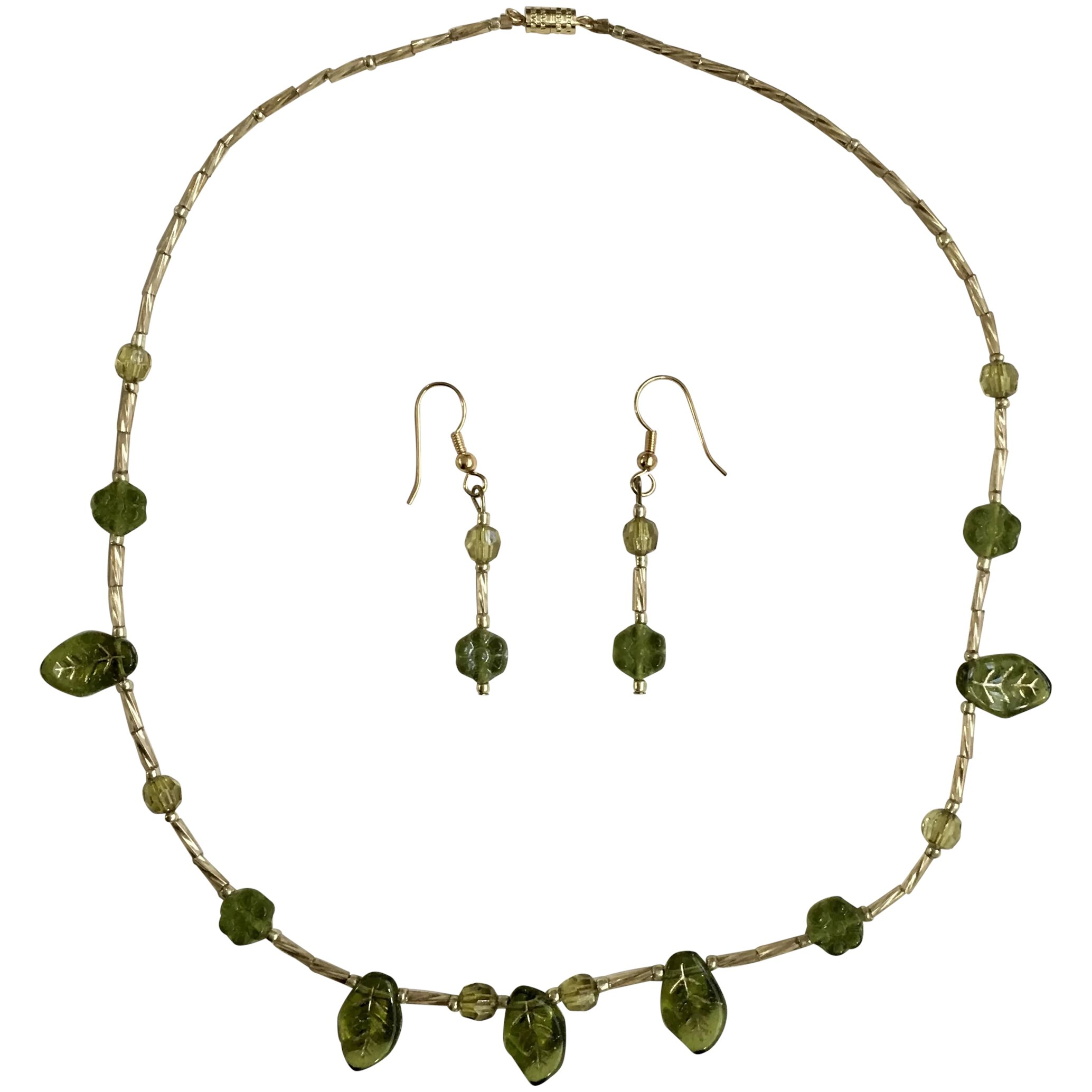 Gold Tone Segmented Necklace with Matching Clip Earrings
