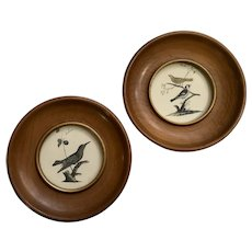 Vintage Miniature Bird Prints in Oval Wood Frames