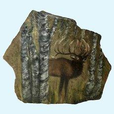 Darlene Jackson, Elk Bugling oil Painting on flag stone Signed by Artist