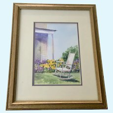 C E Murphy, Backyard Landscape Watercolor Painting Signed by Artist