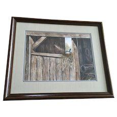 Weyma, Little Bird Nesting in a Barn Watercolor Painting