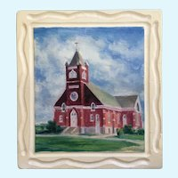 Signe E Larson (1908-1993) 1957 Lutheran Church Oil Painting Signed by Listed Artist