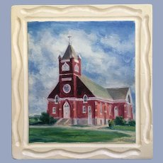 Signe E Larson (1908-1993) 1957 Lutheran Church Oil Painting
