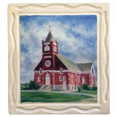 Signe E Larson (1908-1993) 1957 Lutheran Church Oil Painting