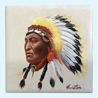 Lloyd R Thorsten, Indian Chief Tile Oil Painting