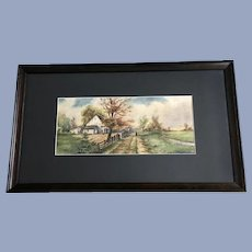 C Handley, Country Landscape Watercolor Painting Singed by Listed Artist