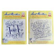 Mid-Century Aunt Martha's Hot Iron Transfers Rabbits & Frogs Week Days