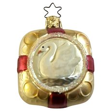 White Swan Package Box Christmas Ornament Inge Glas Old World Blown Glass Germany