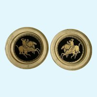 Neoclassicism Style Wall Plaques Horse Riders Reverse Glass Paintings