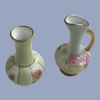 Dollhouse Miniature Ewer and Vase Hand Painted Diorama Signed Spoelstra