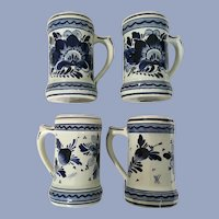 Delft Blue Dutch Coffee Mugs Hand Painted Floral Cups Holland