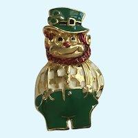 Saint Patrick's Day Leprechaun Gold-Tone Enamel Brooch Pin Signed SFJ