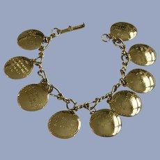 Ten Commandments Round Gold-tone Medallion Bracelet