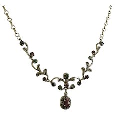 Vintage Opaque Rubies Emeralds Sapphires Marcasites Sterling Silver Necklace