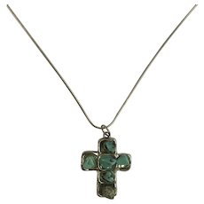 Turquoise Colored Silver-Tone Christian Cross Necklace