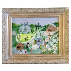 Sheila Burns, Folk Art Painting 'Spring' in the Village, Oil Painted on Canvas Board Signed Listed by Artist