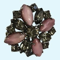 Small Pink & Sparkle Smoky Rhinestone Pin