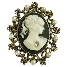 Beautiful Gold Tone Faux Cameo Faux Pearl Brooch Pin or Pendant