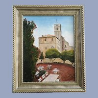 R Hewing, Monastery Garden Oil Painting Signed by Artist