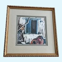 R Boitt, Santa Fe Window with Large Indian Pots Watercolor painting Signed by Artist