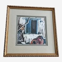 R Boitt, Santa Fe Window with Large Indian Pots Watercolor Painting
