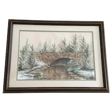 S Farmer, Rural Brick Bridge Oil and Watercolor Painting Signed by Artist