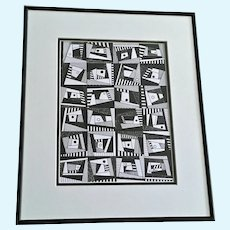 Jan Wiemers Geometric Pattern Pen and Ink Drawing Signed by Nebraska Artist