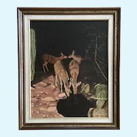 Dorothy Kratz, Nocturnal Deer Drinking from Desert Spring Oil Painting Singed by Artist