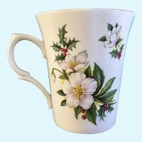 St George Christmas Rose December Flower Coffee Mug Cup England  Helleborus Niger